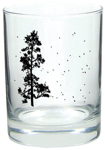 Pine Tree Flock Rocks Glass