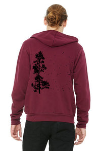 Pine Tree Flock Ultra Soft Zip up Hoodie - Unisex Maroon