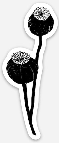 Poppy Pod Die-Cut Vinyl Sticker