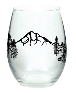 Mt Hood Forest Wine Glass