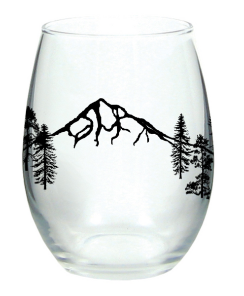 Mt Hood Forest Stemless Wine Glass