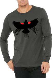 Red Winged Blackbird T-Shirt - Long Sleeve Unisex Asphalt