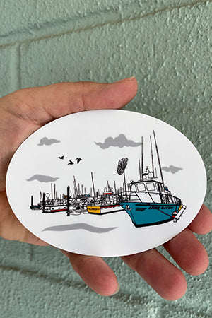 Salty Port Oval Vinyl Sticker