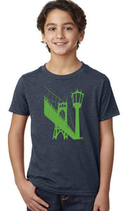 St Johns Bridge T-Shirt - Youth Navy