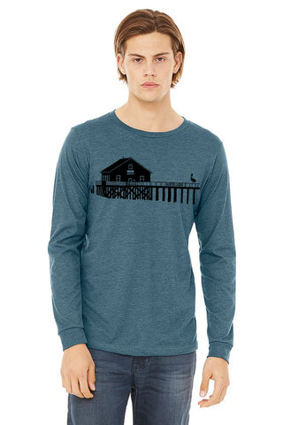 Boathouse Buddy T-Shirt - Long Sleeve Unisex Heather Deep Teal