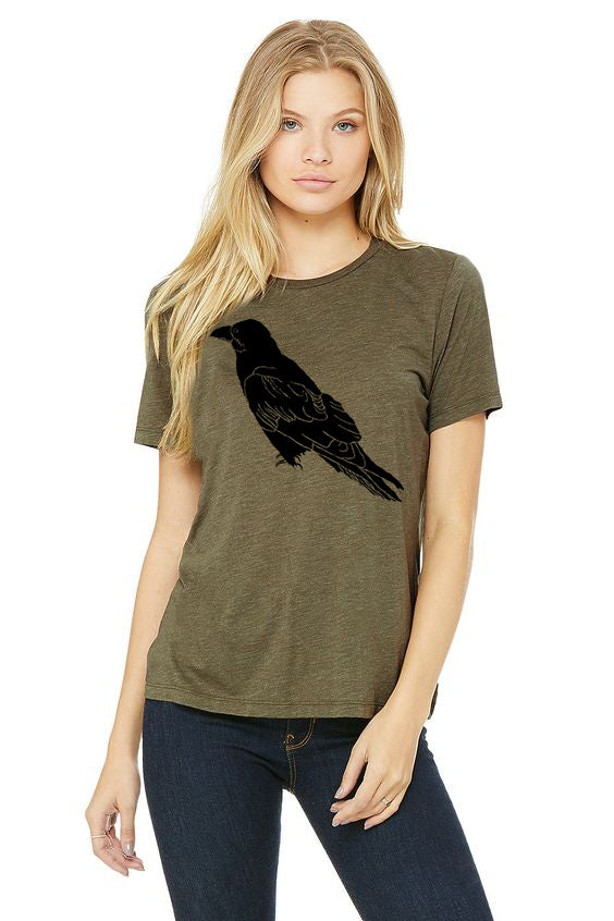 Perched Raven T-Shirt  - Women's Olive Tri-Blend