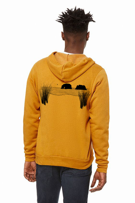 Twin Rocks Ultra Soft Zip up Hoodie - Unisex Heather Mustard