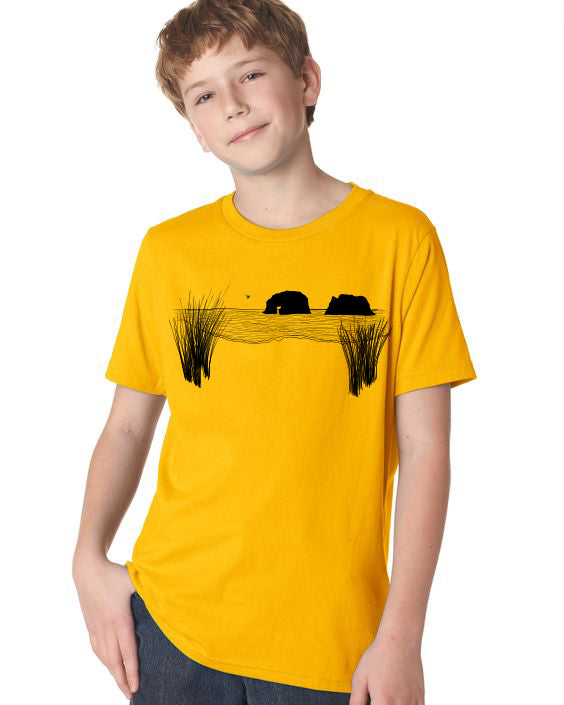 Twin Rocks T-Shirt - Youth Gold