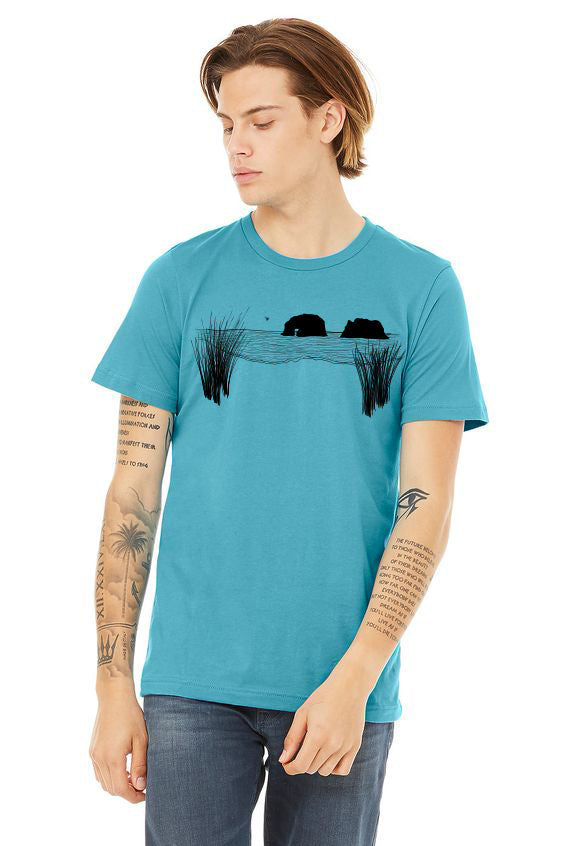 Twin Rocks T-Shirt - Unisex Heather Aqua