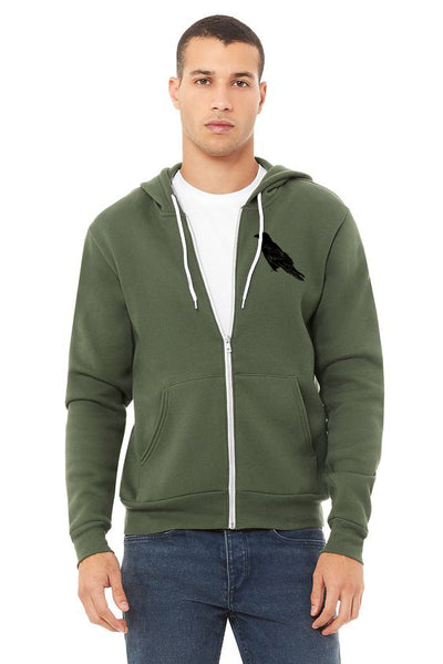 Perched Raven Ultra Soft Zip up Hoodie - Unisex Military Green