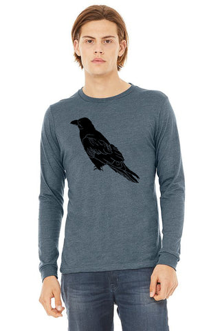 Perched Raven T-Shirt - Long Sleeve Unisex Heather Slate