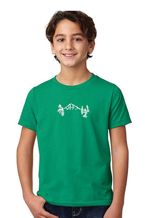 Mt Hood Forest T-Shirt -  Youth Kelly Green