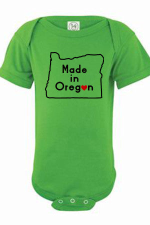Seasons K Designs Salty Raven Made in Oregon onesie - Apple Green
