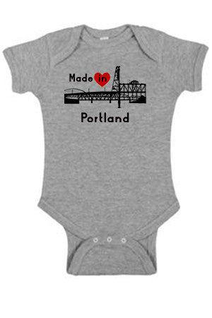 Seasons K Designs Salty Raven Made in Portland onesie Heather Gray