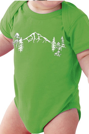 Seasons K Designs Salty Raven Mt Hood Forest Baby Onesie