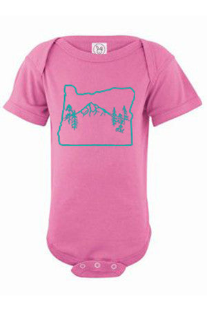 Oregon Map Mt Hood One Piece - Infant Raspberry