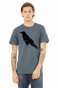 Perched Raven T-Shirt - Unisex Steel Blue