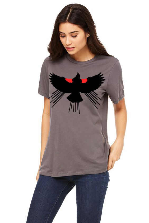 Red Winged Blackbird T-Shirt - Women Asphalt
