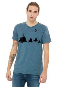 Moon Over Three Graces T-Shirt - Unisex Heather Deep Teal