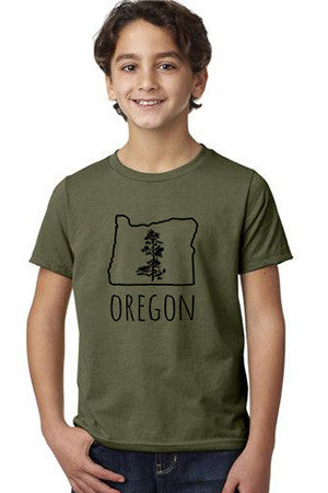 Oregon Pine T-Shirt - Youth Military Green