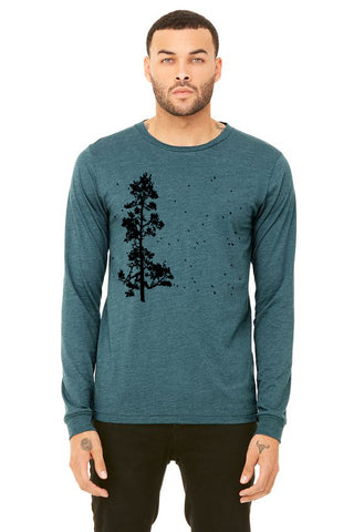 Pine Tree Flock T-Shirt - Long Sleeve Unisex Heather Deep Teal