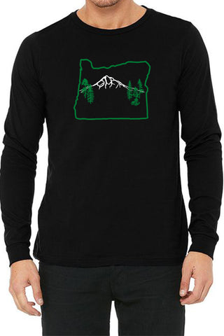 Oregon Map Mt Hood Long Sleeve T-Shirt - Unisex Black