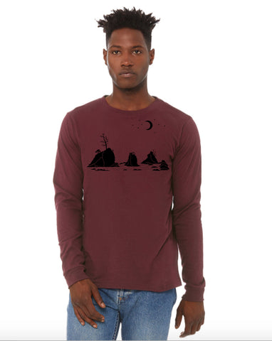 Moon Over Three Graces T-Shirt - Long Sleeve Unisex Maroon