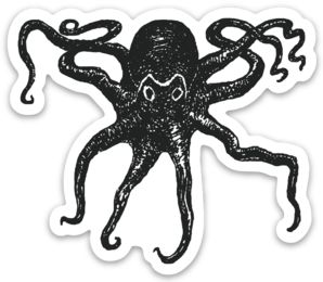 Octopus Die-Cut B/W Sticker