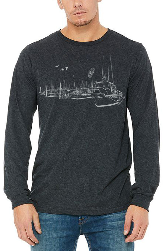 Salty Port T-Shirt - Long Sleeve Unisex Deep Heather