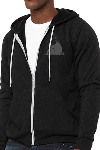 Moon Over Three Graces Ultra Soft Zip Up-Hoodie - Unisex Black Heather