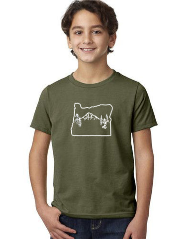 Oregon Map Mt Hood T-Shirt  - Toddler Military Green