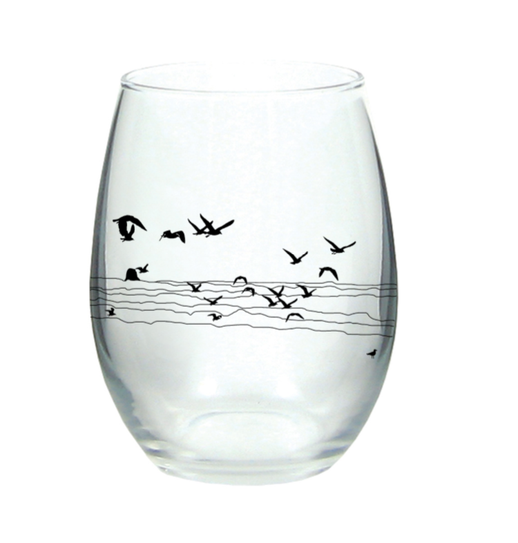 Seagull Beach Stemless Wine Glass