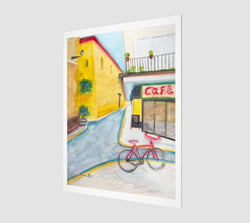 A watercolor painting of a sunny street in Sevilla, Spain, by Artist Dave White, printed on museum-quality paper using the best archival inks.
