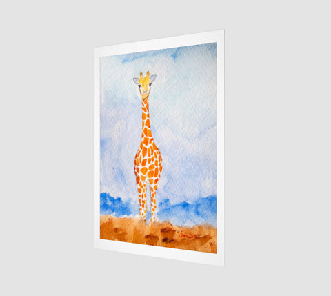 A giraffe watercolor painting printed museum-quality matte paper using the best archival inks. Nursery art for boys and girls!