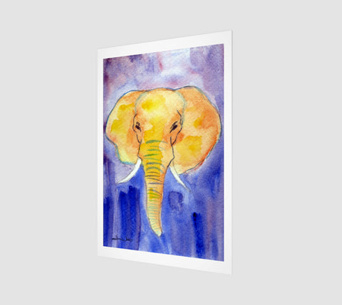 An elephant watercolor painting printed on museum-quality paper using the best archival inks.