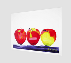 An oil painting of three apples, by Artist Dave White.
