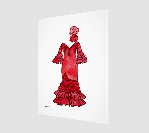 A watercolor painting of a red Spanish flamenco dress, by Artist Dave White.