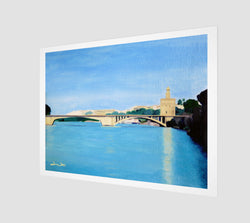 Fine Art Print of an oil painting of the Gold Tower in Seville, Spain, by Artist Dave White.
