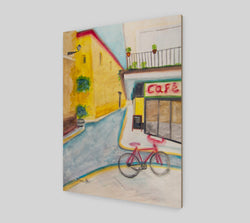 A watercolor painting of a sunny street in Sevilla, Spain, by Artist Dave White, printed on sustainable wood.