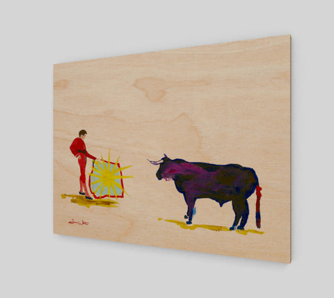 "A Spanish-inspired bullfight painting, translated to ""The Bull and Heaven"", painted by Artist Dave White. Printed on wood sourced from sustainable forests in Canada."