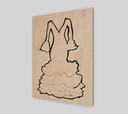 A charcoal drawing of a Spanish flamenco dress by Artist Dave White, printed on sustainable wood.