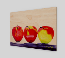 A still-life oil painting of three apples, by Artist Dave White.