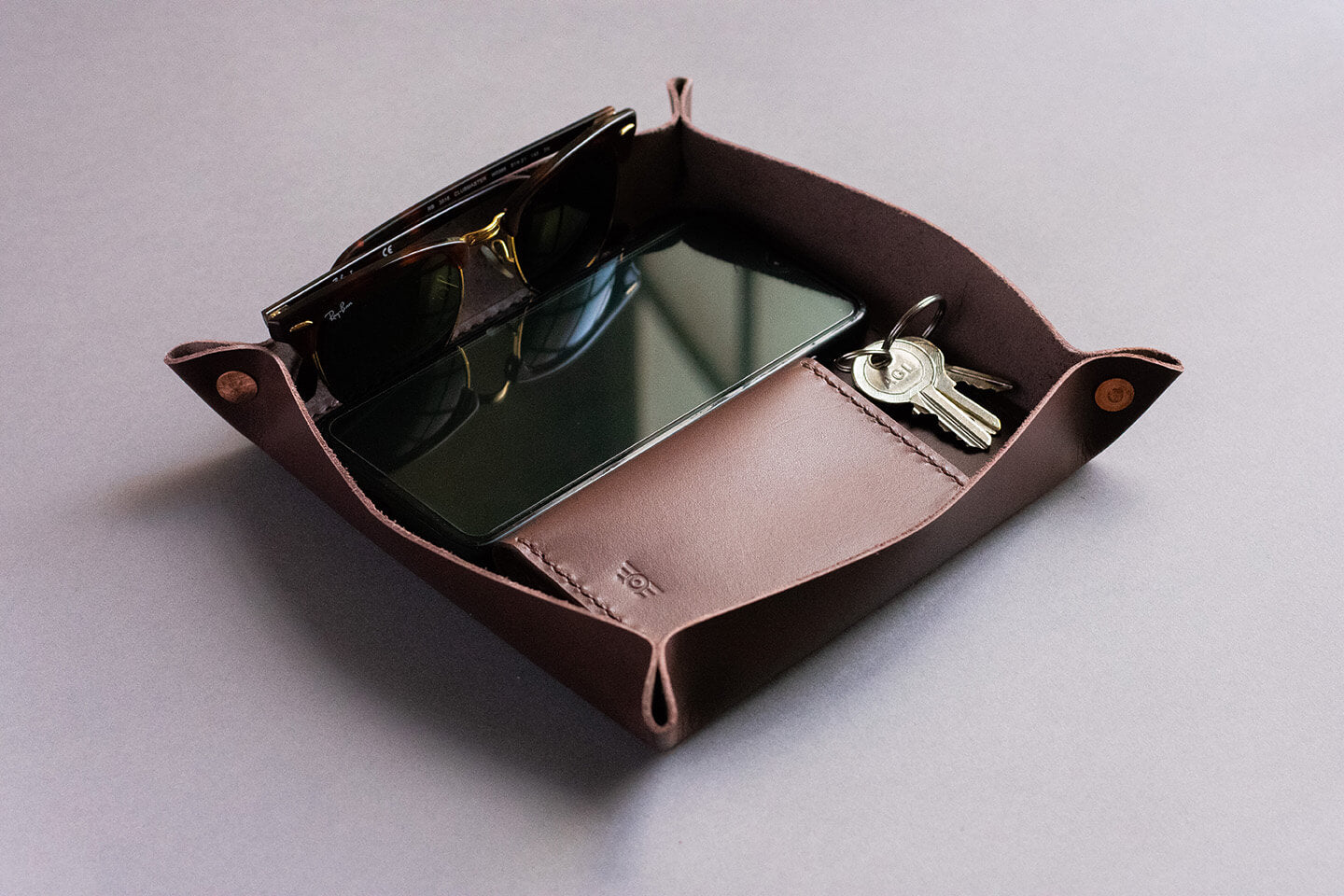 "Leather Tray ""TESTAROSSA"" - Medium Brown"