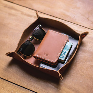 "Leather Tray ""TESTAROSSA"" - Tan"