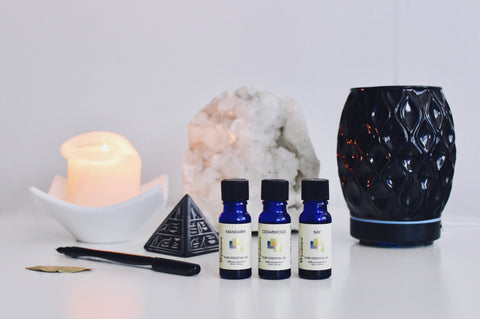 Try blending 7 drops Mandarin to uplift and calm and 3 drops Cedarwood and 1 drop of Bay to ground and connect your mind and spirit. Add this blend to your diffuser and breathe in the sedative relief.