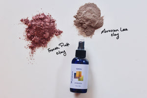 DIY Recipe for clay facial mask. Hydrosols are used along with 10%pur essential oils.