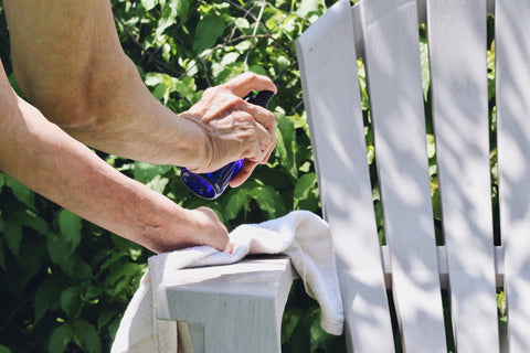Patio Furniture Freshen-up Spray DIY to share with you all. Simply follow this recipe - 25 drops Pine essential oil 20 drops Juniper Berry essential oil 15 drops Lemon essential oil 2 Tbsp white vinegar in an 8 oz spray bottle. Add water to fill the bottle.  Shake to combine, and shake before each use.