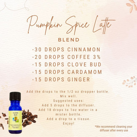 Pumpkin Spice Latte Blend Recipe Card - A fall favorite made with Cinnamon, Coffee, Clove Bud, Cardamom, and Ginger. This blend is a great combination of warm and spicy notes. Smells just like a Pumpkin Spice Latte tastes like!