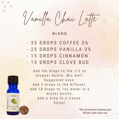 Vanilla Chai Latte Blend Recipe Card - With Coffee, Vanilla, Cinnamon and Clove Bud Essential Oils. This blend is perfect for the changing of seasons and to get you in the fall mood. Gives off a wonderful warm aroma.