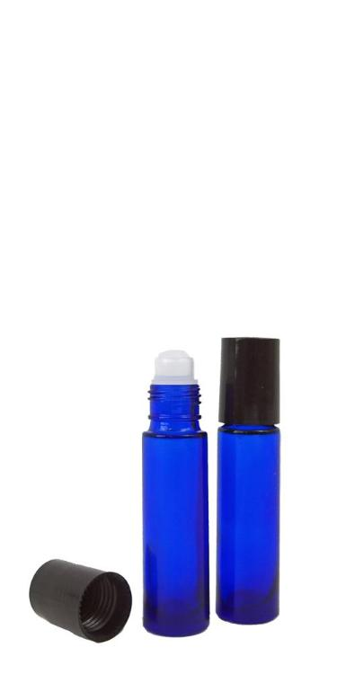 blue glass bottles with roll on top